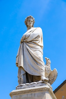 Dante alighieri statue in florence, tuscany region, italy, with an amazing blue sky background.