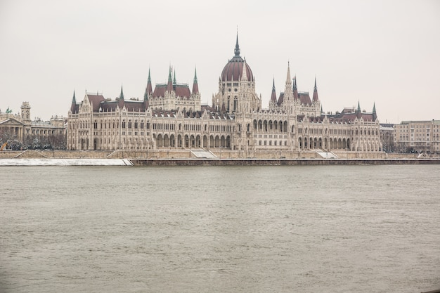 Danube and parliament building in budapest