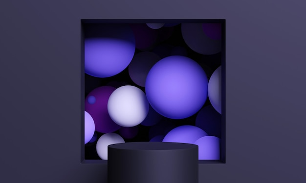 Dark 3d mock up podium with a square window full of flying spheres or balls in purple. dark stylish contemporary abstract modern platform for product or cosmetics presentation.