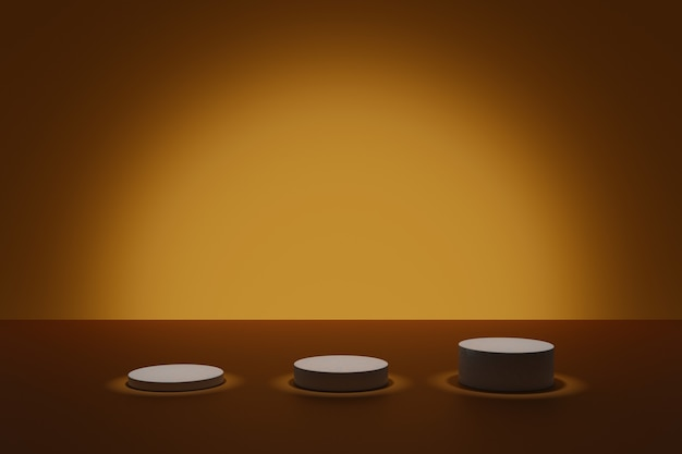 Dark 3d modeling scene with illuminating cylindric podiums on an orange background