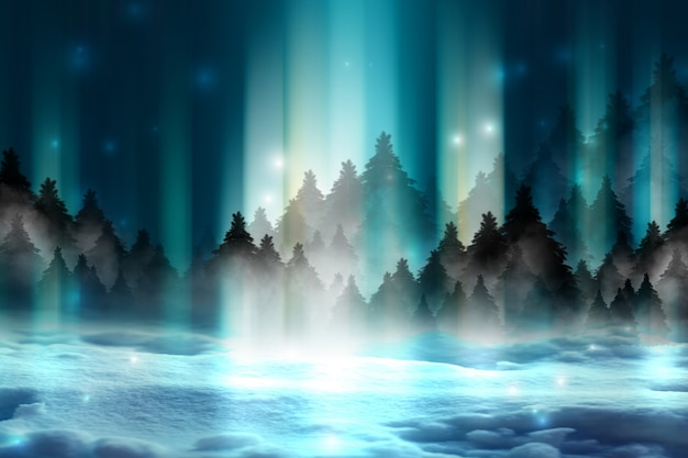 Dark abstract background. winter night forest landscape. silhouettes of fir trees, lit with neon glow, snowdrifts, snowflakes. 3d illustration
