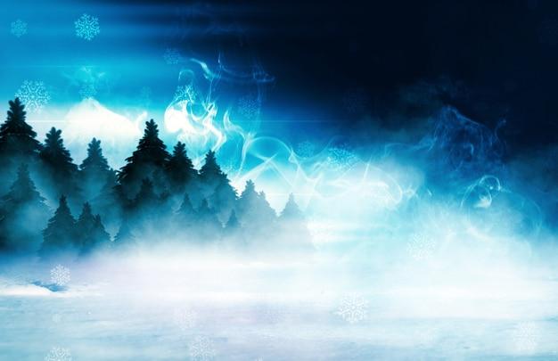 Темный абстрактный фон. зимний ночной лесной пейзаж. силуэты елей, освещенные неоновым светом, сугробы, снежинки. 3d иллюстрация
