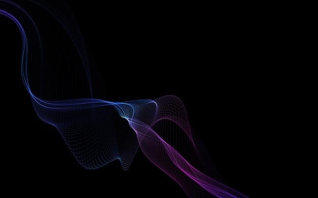 Темный абстрактный фон с светящимися абстрактными волнами, абстрактный фон
