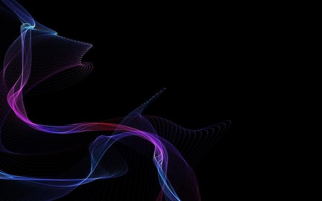 輝く抽象的な波と暗い抽象的な背景