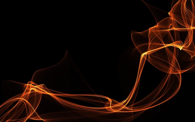 Dark abstract background with a glowing abstract waves.
