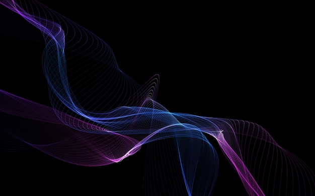 Dark abstract background with glowing abstract waves