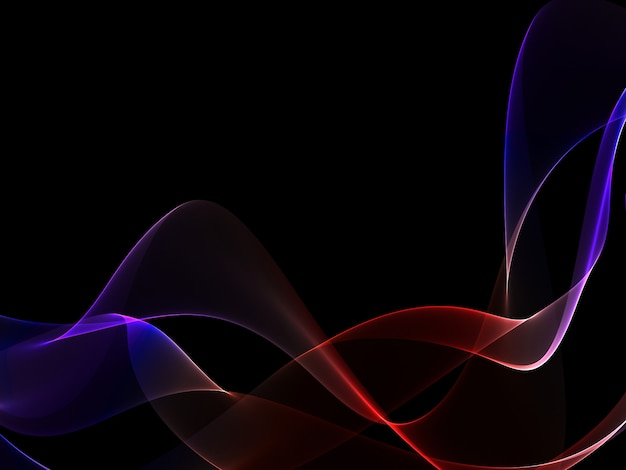 Dark abstract background with a glowing abstract waves