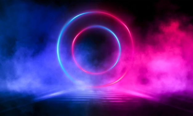 Dark abstract background with a neon circle in the center