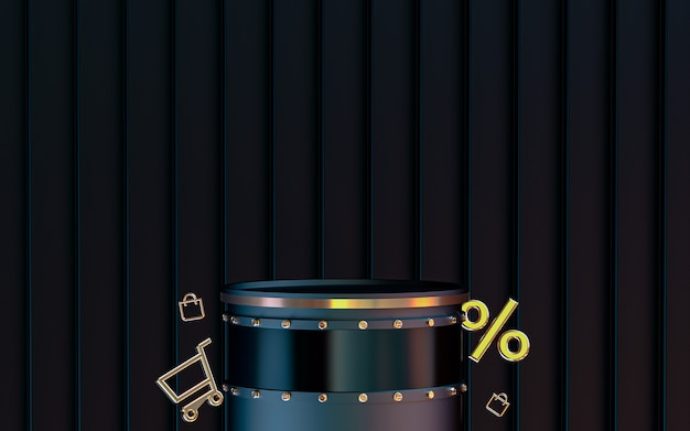 제품 프레젠테이션 할인 제공 온라인 상점 3d 렌더링을 위한 연단이 있는 어두운 추상적 배경