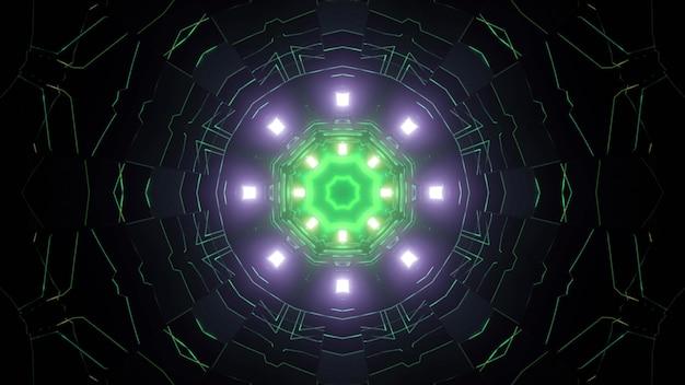 ネオンライト3dイラストで活気に満ちた輝く未来的なパターンを持つ暗い抽象的な回廊