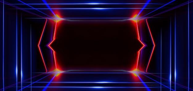 어두운 추상 미래 배경입니다. 네온 라인이 빛납니다. 네온 라인, 모양. 흐릿한 조명. 빈 무대 배경입니다. 진한 파란색 배경, 노란색 광선.