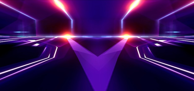 어두운 추상 미래 배경입니다. 네온 라인이 빛납니다. 네온 라인, 모양. 멀티 컬러 글로우, 흐릿한 조명.