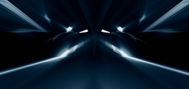 暗い抽象的な未来的な背景。ネオンラインが光ります。ネオンライン、形。マルチカラーの輝き、ぼやけたライト。