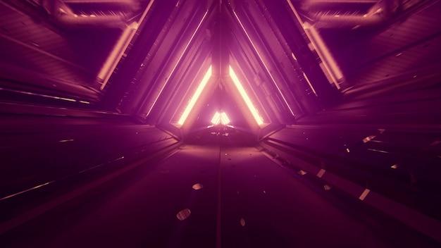 4k uhd 3d 그림에서 대칭 기하학적 삼각형 디자인과 빛나는 네온 불빛이 있는 어두운 추상 미래형 터널