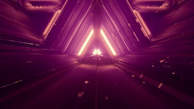 Dark abstract futuristic tunnel with symmetric geometric triangle design and gleaming neon lights in 4k uhd 3d illustration