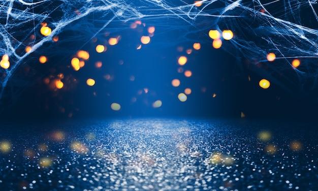Dark abstract halloween background. spider web, blurry lights, bokeh.