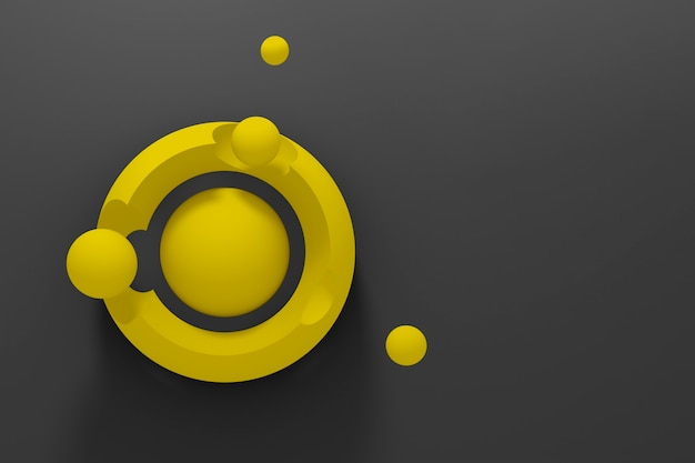 Dark abstract three-dimensional background of many yellow circles with a stylized display of the planet and satellites on black background.