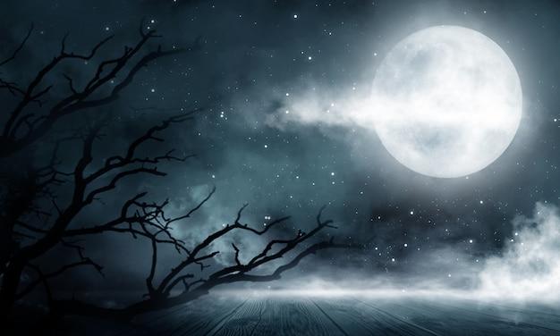 暗い抽象的な冬の森の背景。