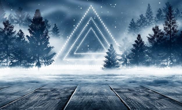 어두운 추상 겨울 숲 배경입니다.