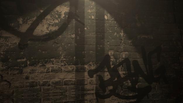 夜の建物のグランジ壁と街の暗い路地。サイバーパンクと街並みのテンプレートのグランジと豪華な3dイラストスタイル