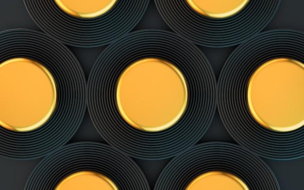 Темный и золотой круг абстрактные геометрические формы фон 3d рендеринг
