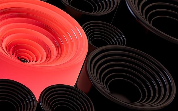 暗くて赤い円の光る抽象的な幾何学模様の壁紙3dレンダリング