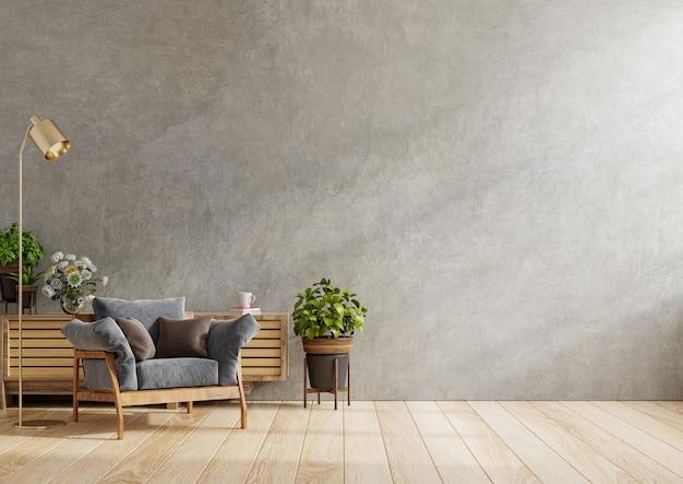 暗いアームチェアとリビングルームのインテリアに植物、コンクリートの壁、3dレンダリングの木製キャビネット
