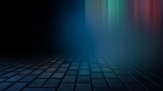 물 속에서 광선의 어두운 아스팔트 젖은 아스팔트 반사 추상 어두운 파란색 배경 연기 스모그 빈 어두운 장면 네온 빛 스포트라이트 콘크리트 바닥