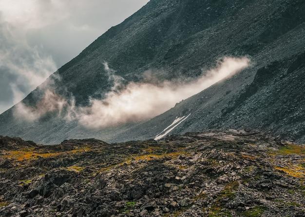 Темный атмосферный туманный горный пейзаж. лишайники на острых камнях. каменное поле в густом тумане в высокогорье.