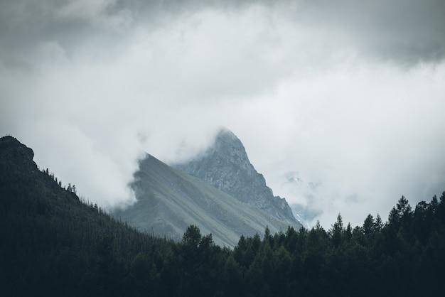大きな低い雲の中に高い岩山の頂上がある暗い大気の風景。灰色の曇り空の岩の背景に暗い森のシルエット。どんよりした天気の暗い山の頂上への暗い景色。