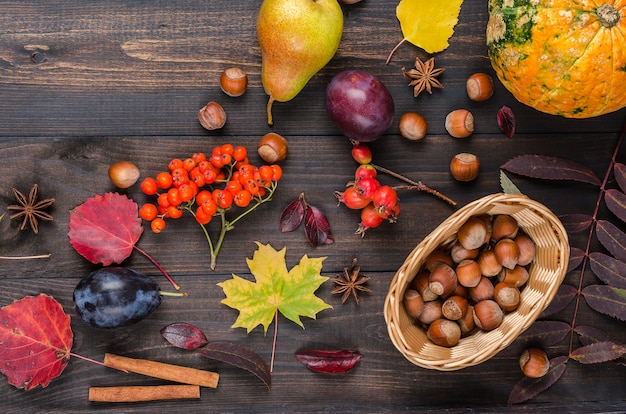 Dark autumn background with copy space. flat lay.