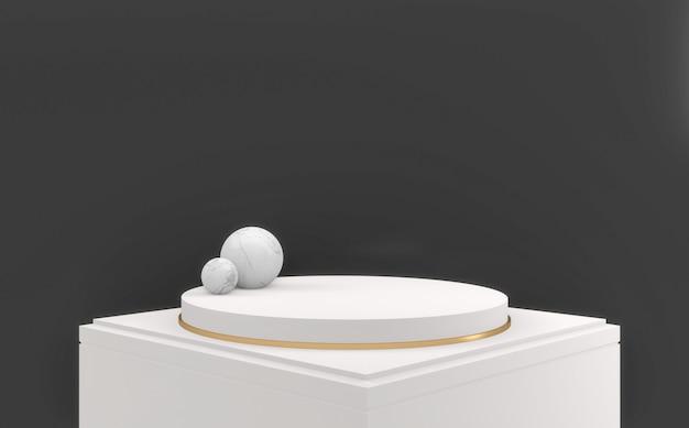 Темный фон и белый подиум круг дизайн минимальный. 3d визуализация