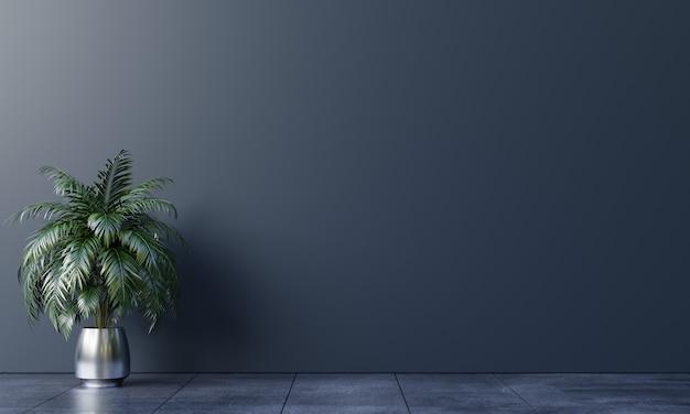床に植物と暗い背景の空の部屋