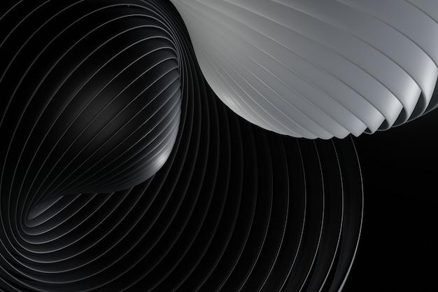 검은 선 곡선 디자인으로 어두운 배경입니다. 추상적 인 배경, 현대적인 디자인, 3d 렌더링