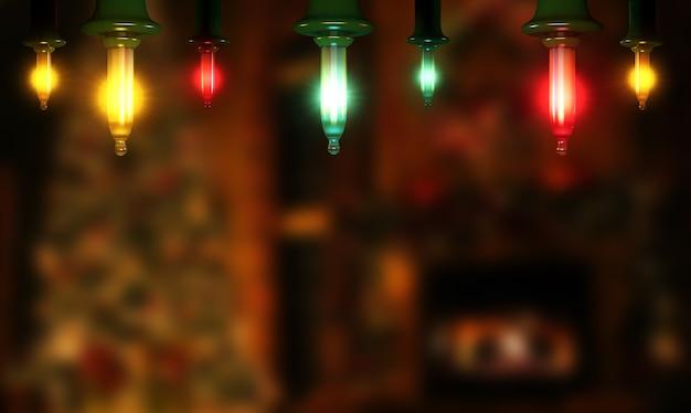 Темный фон с рождественскими огнями и копией пространства. концепция праздников. 3d-рендеринг