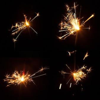 4つの明るい火花を持つ暗い背景