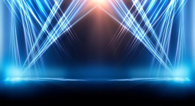 선과 스포트라이트, 푸른 네온 불빛, 야경이있는 어두운 배경