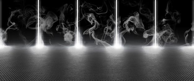 빛나는 천공 금속에 광선과 연기와 어두운 배경