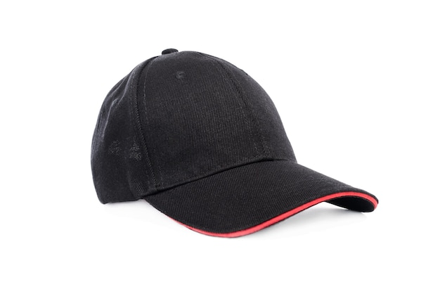 Dark baseball cap with red visor isolated on white background