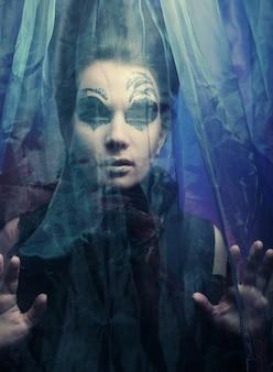 Dark beautiful gothic princess. happy halloween party.