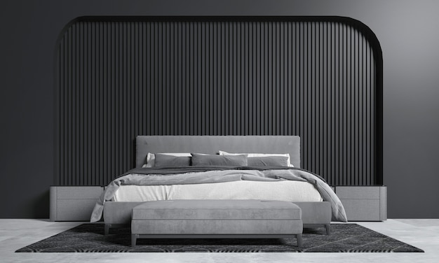 Dark bedroom interior mock up, grey bed on empty dark wall background, scandinavian style, 3d render