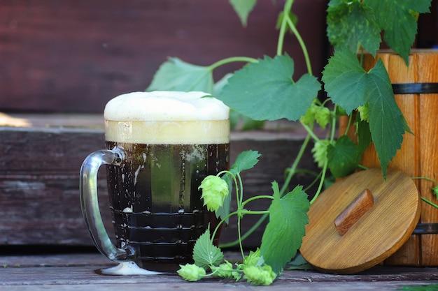 어두운 맥주 유리 나무 자연