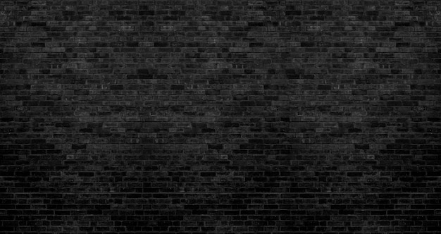 Dark black brick wall texture, brick surface for background