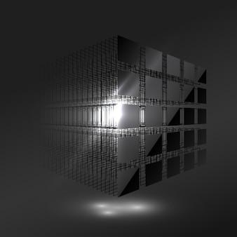 小片からの濃い黒の立方体。ブロックチェーンの概念。ビッグデータ。コンピュータデータストレージ。技術の背景。