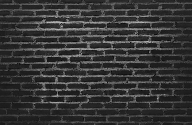 Dark black grunge brick wall texture background with old dirty and vintage style pattern.