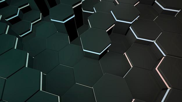 Темно-черный фон шестигранной сетки, абстрактный фон. элегантный и роскошный стиль 3d иллюстрации для бизнеса и корпоративного шаблона