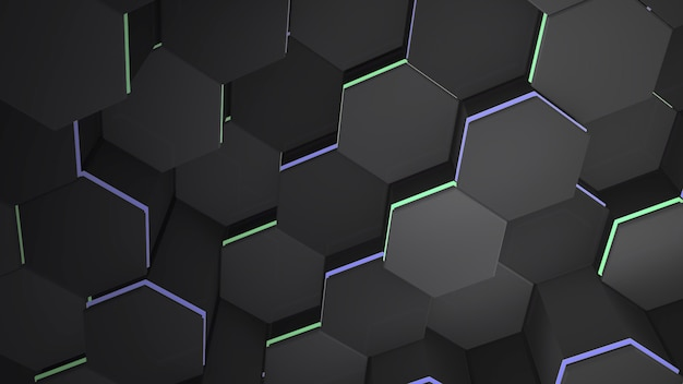 어두운 검은색 16진수 격자 배경, 추상적인 배경입니다. 비즈니스 및 기업 템플릿에 대한 우아하고 고급스러운 스타일의 3d 그림