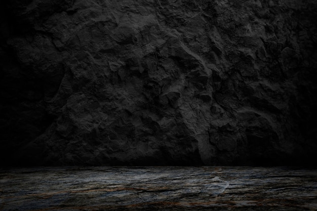 Dark and black rock texture background, blank room and studio for present product