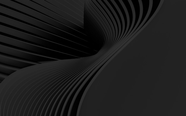 Dark black wave abstract background 3d rendering flat design style