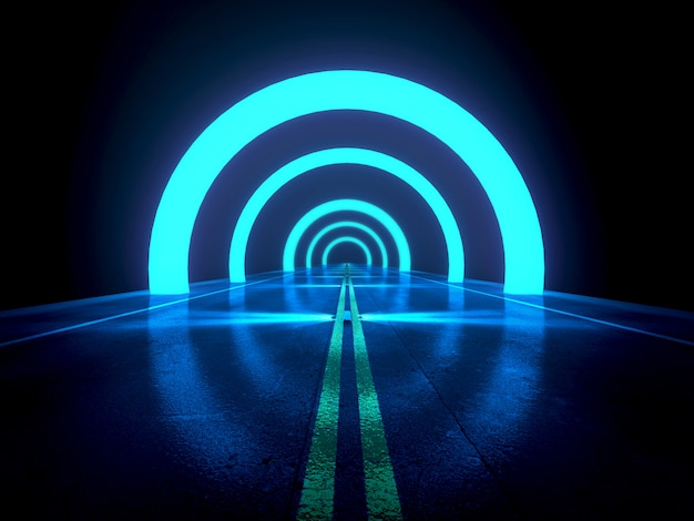 Dark blue abstract background ,futuristic highway with  light and effect concept,3d render
